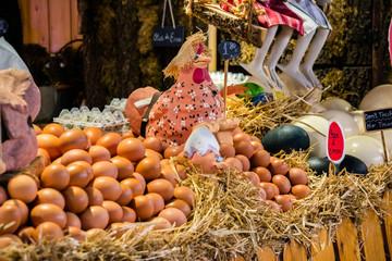 market with chicken eggs