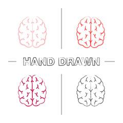 Human brain hand drawn icons set