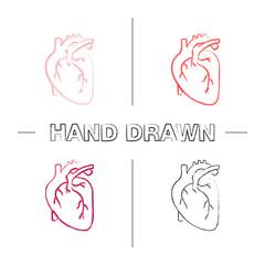 Human heart anatomy hand drawn icons set