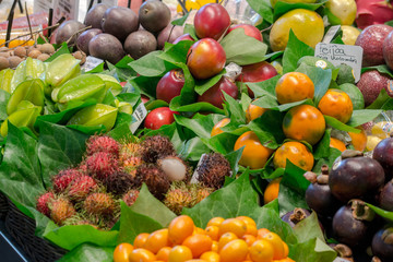 exotic fruits in assortment.