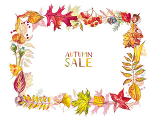 Autumn composition. Frame made of autumn berries and leaves on white background. Watercolor illustrations.