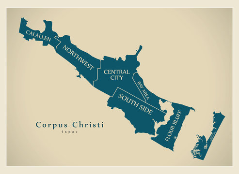 Modern City Map - Corpus Christi Texas city of the USA with neighborhoods and titles