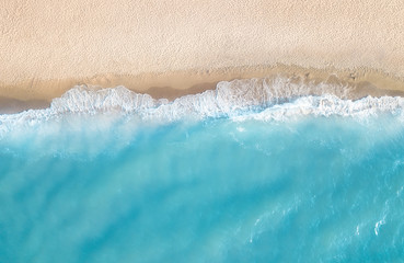 Wall Murals Air photo Aerial view at the beach. Beautiful natural seascape at the summer time