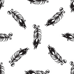 Seamless pattern with drawing of feathers