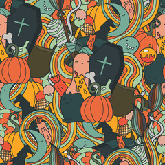 Halloween  doodle seamless pattern. Holiday art with cute cartoon characters and objects. Pumpkins, doodle waves and ghosts in flat vector.