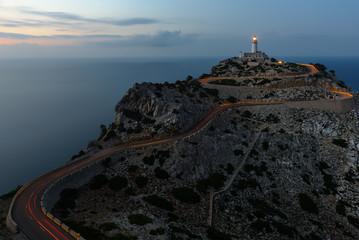 Foto auf Acrylglas Leuchtturm Formentor Lighthouse at dusk, Majorca, Spain
