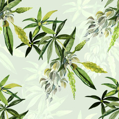 Decorative image of wildflowers. Seamless pattern lupine.