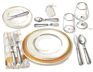 Lamas personalizadas para cocina con tu foto Vector cutlery set: forks, knive, spoons, empty plate