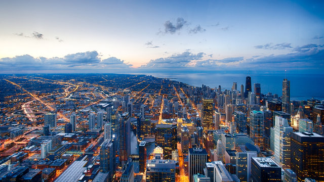 A look at the Chicago skyline near sunset from the Willis Tower Skydeck in Chicago, Illinois