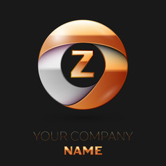 Realistic Golden Z Letter logo symbol in the colorful golden-silver circle shape on black background. Vector template for your design