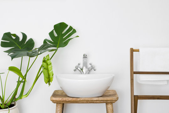 Bathroom interior with white sink, towel hanger and green plant