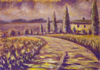 high cypresses art. Tuscany painting on canvas. Warm summer French landscape. Italian Tuscany no one, a field of flowers, old village house, road, mountains in the background.