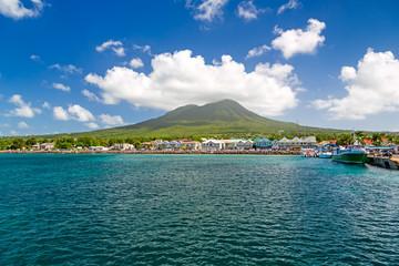 Zelfklevend Fotobehang Groen blauw Mount Nevis from sea, St Kitts and Nevis, Caribbean