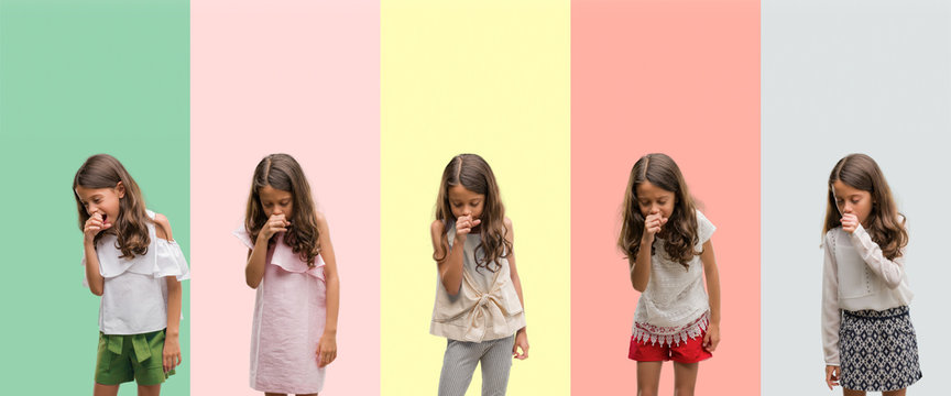 Collage of brunette hispanic girl wearing different outfits feeling unwell and coughing as symptom for cold or bronchitis. Healthcare concept.