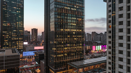 aerial view of business area in Nangjing Rd, Shanghai, China, at dusk