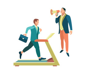 Business training. Team work. People in the web business. Vector illustration