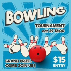 Bowling tournament design template. Vector realistic bowling strike on pop art background.