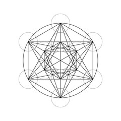 Geometrical figures. Sacred Geometry Davids Star and Metatrons Cube vector illustration