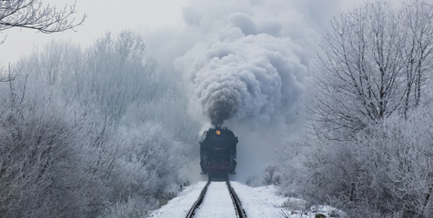 steam locomotive with steam clouds in winter, front view, Slovakia
