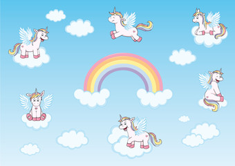 cute unicorns with wings,  rainbow and clouds in heaven collection