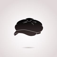 Beret vector icon isolated on white background.