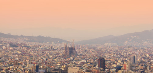 Barcelona cityscape at sunset. panorama view, Spain