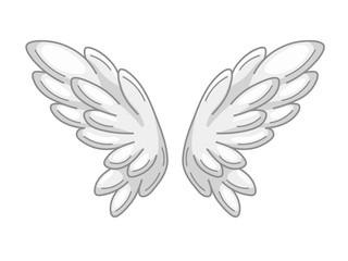 A pair of angel wings with grey and white feathers, wide spread. Contour drawing in modern line style with volume. Vector illustration