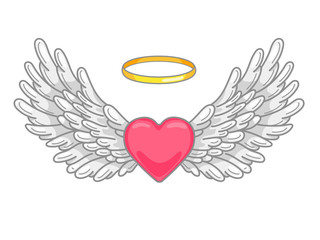 A pair of wide spread angel wings with golden halo or nimbus and red heart in the middle. Grey and white feathers. Love and Valentine day symbol. Vector illustration