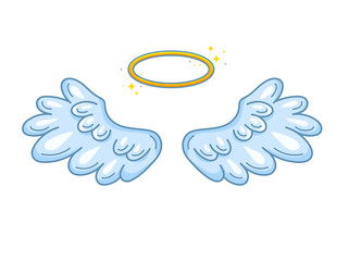 A pair of wide spread angel wings with golden halo or nimbus. Blue and white feathers. Contour drawing in modern line style with volume. Vector illustration isolated on white.