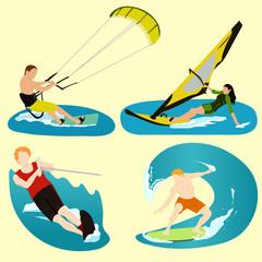 Surfing, sport, summer, relax, ocean, sea, beach, vector.
