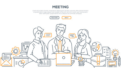 Business meeting - modern line design style illustration