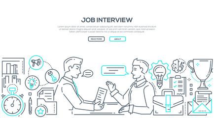 Job interview - modern line design style illustration