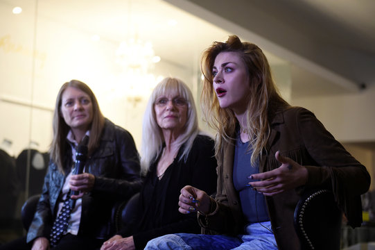 Kurt Cobain's sister Kim Cobain, his mother Wendy O'Connor and daughter Frances Bean Cobain speak to Reuters during an interview at the opening of the 'Growing Up Kurt' exhibition featuring personal items of Nirvana frontman Kurt Cobain at the museum of St