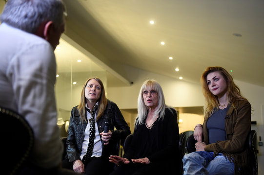 Kurt Cobain's sister Kim Cobain, his mother Wendy O'Connor and daughter Frances Bean Cobain speak to Reuters during an interview at the opening of 'Growing Up Kurt' exhibition featuring personal items of Nirvana frontman Kurt Cobain at the museum of Style
