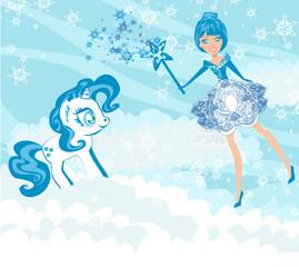 Winter fairy and sweet unicorn