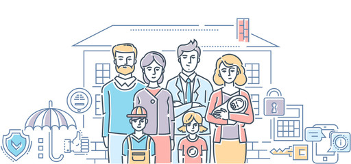 Family protection - colorful line design style illustration