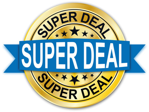 blue super deal round golden web coin medal badge