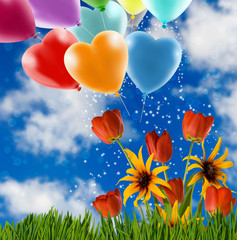 flowers and festive balloons against the sky