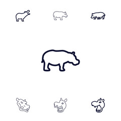 Collection of 7 hippopotamus outline icons