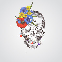 Skull with flowers. Vector hand drawn skull with wild flowers. Skull with flowers isolated on white background