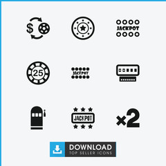 Collection of 9 jackpot filled icons