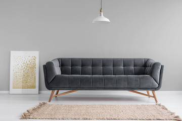 Dark,velvet sofa with wooden legs and a beige rug in a minimalist living room interior with gray walls. Real photo.