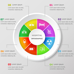 Infographic design template with hospital icons