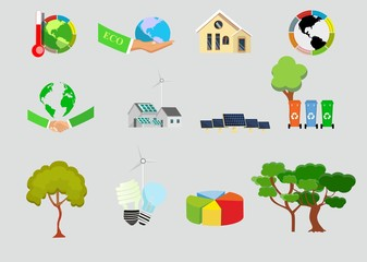 Green eco, environmental friendly, energy saving modern technologies set, vector icons isolated