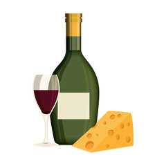 wine bottle with cup and cheese