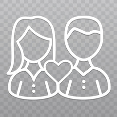 Thin line Couple love icon. Friendship icon on transparent background.
