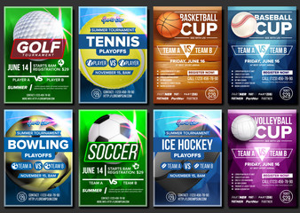 Sport Poster Set Vector. Ice Hockey, Bowling, Basketball, Golf, Baseball, Tennis, Soccer, Football. Banner Advertising. Event Announcement. Ball. A4 Size Template. Game Championship Illustration