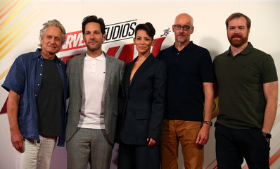 Actors Michael Douglas, Paul Rudd and Evangeline Lily, together with director Peyton Reed and producer Stephen Broussard, pose for photos at the launch of the new Marvel Studios film 'Ant Man and The Wasp' in central London