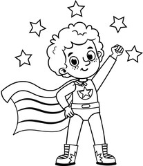Black and white super hero character  for painting activity. Isolated on white. Vector illustration.