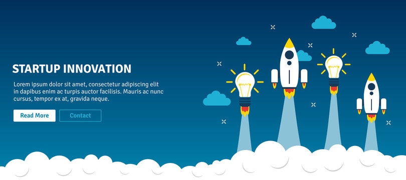 Rocket and lamp launch in web banner. Concept of startup innovation, business planning, startup project, project business, growth strategy in flat design vector illustration.
